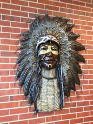 Warrior in new study hall located at SW doors