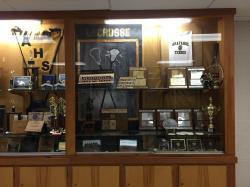One of many trophy cases - hallway between our old gym and classrooms to the east